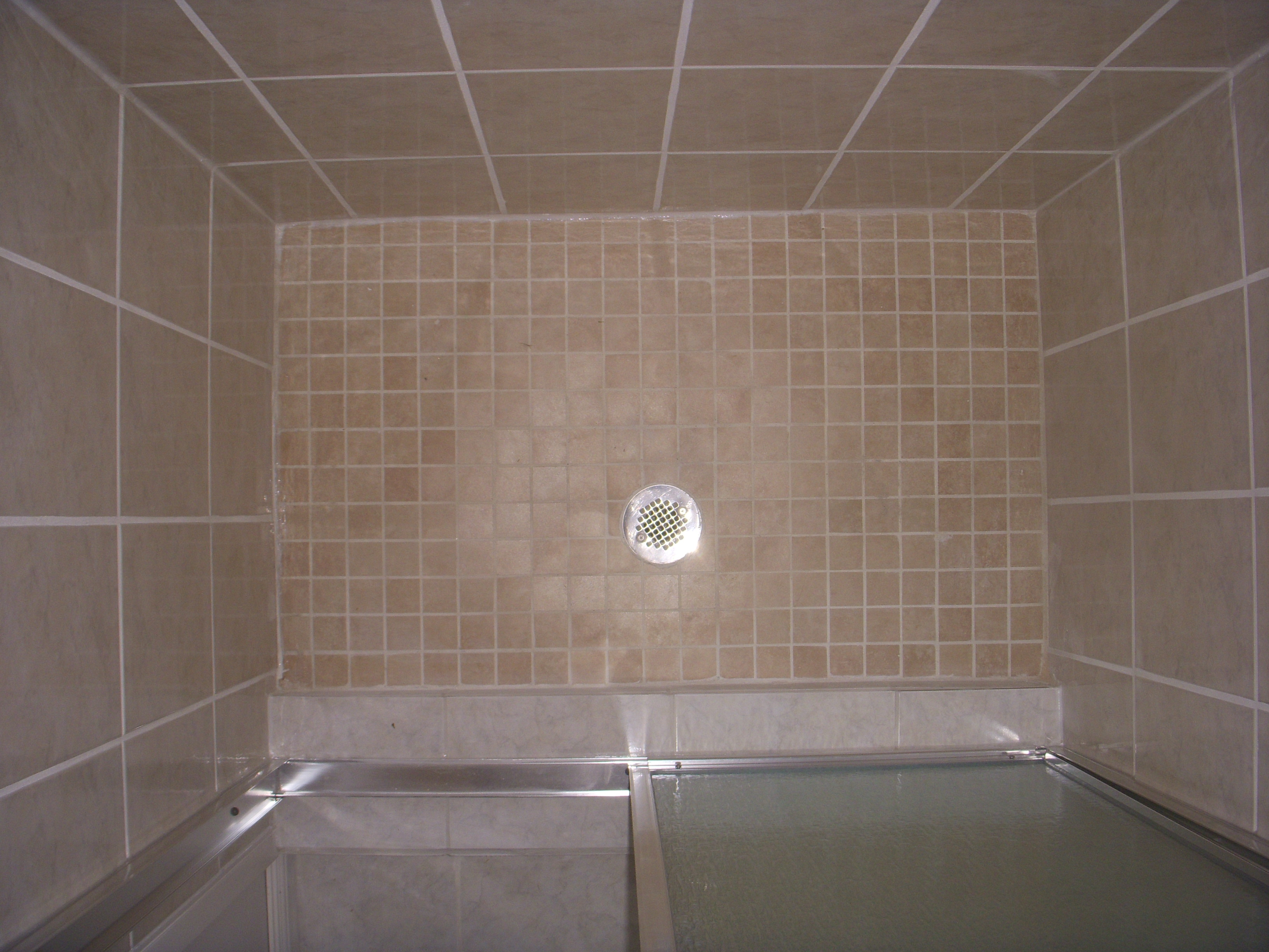 Mosaic Tile Floor Custom Shower Tray And New Drain Line